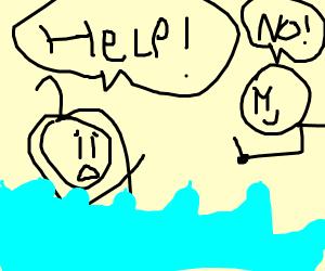 Stickman lets StickWoman drown