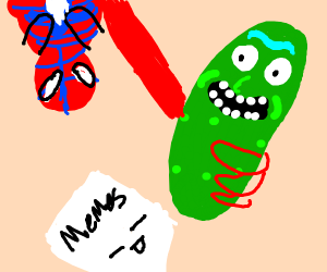 spiderman pointing meme but with pickles