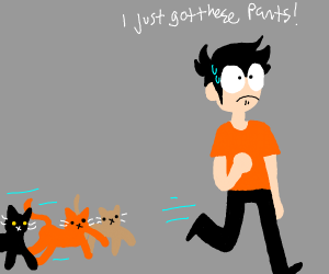 scared man running from cats