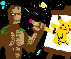 Groot drawing Pikachu in space