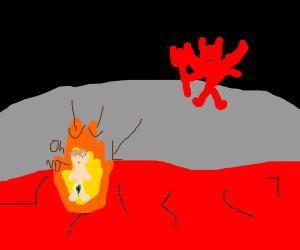 nekkid man burning in HELL