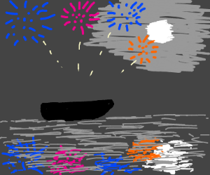setting off fireworks on a boat