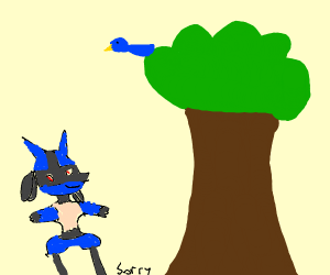A pokemon watching happily a bird on a tree
