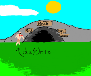 Dante entering the cave to heck