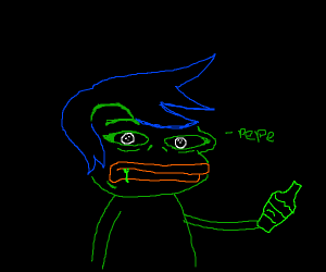 Drunken blue hairy pepe
