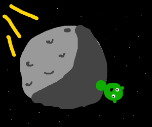 a space alien on the dark side of the moon