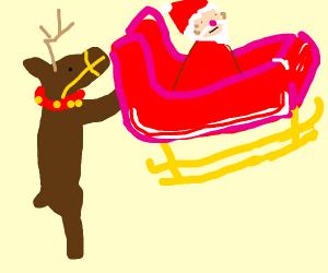 Bipedal reindeer carry Santa and his sleigh