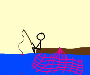 Guy fishing with a pink net