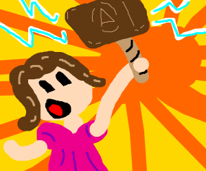 a girl finds THORS HAMMER! (but a wooden one)