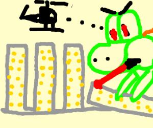 Evil Yoshi Attacks A City