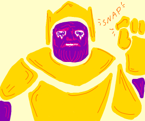 Thanos snaps while his eyes melt