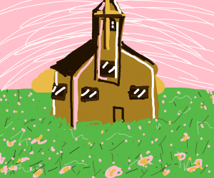 contented church erected in middle of meadow