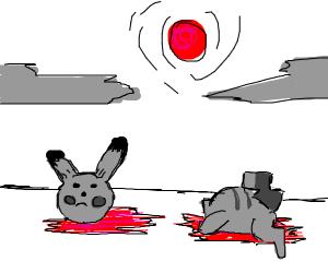B&W Decapitated Pikachu