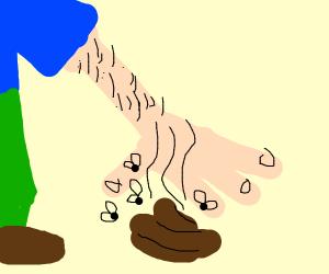 man picking up dog poop