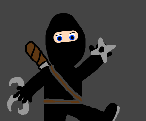 Black ninja with shuriken