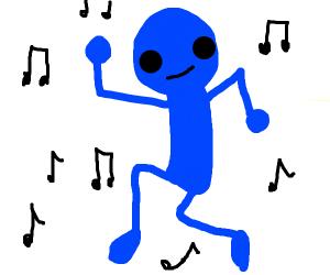 Blue man dances