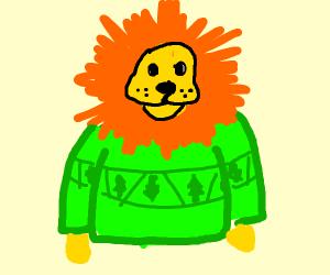 A lion wearing a green sweater
