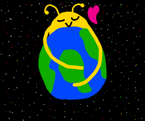 Giant yellow alien hugs the Earth