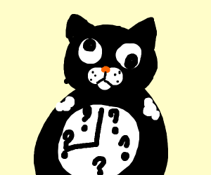 Confused cat clock