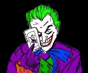 joker (persona) holding a joker (card)