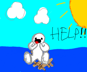 a guy on a wooden raft asking for help !