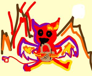 devil weaving a basket in hell