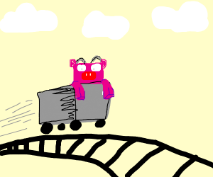 minecraft pig on a roller coaster