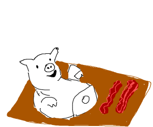 Pig happily welcomes its demise as bacon