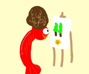 Bob Ross as a shrimp