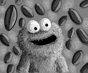 Cookie Monster in B&W