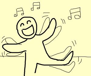 guy singing and dancing