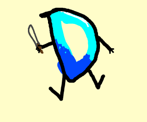 Drawception D holding a knife