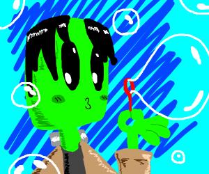Frankenstein's monster blows bubbles