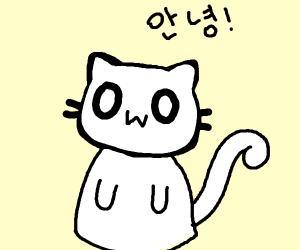 A OwO cat speaking on korean?