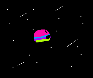 Rainbow blob is amazed by space