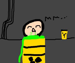 guy enjoys smelling toxic waste
