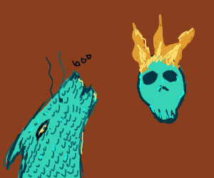 dragon scares burning scull