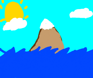 a mountain on an isolated ocean in the middle