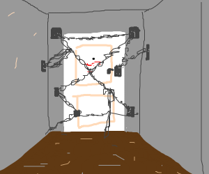 Heavily locked door