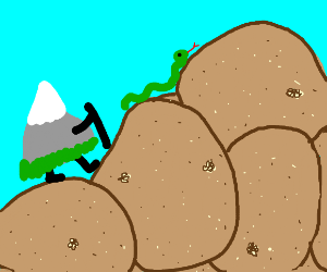 mountain and snake go potato climbing