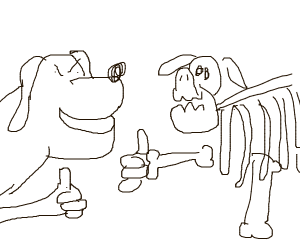 evil dog does thumbs up with skeleton dog