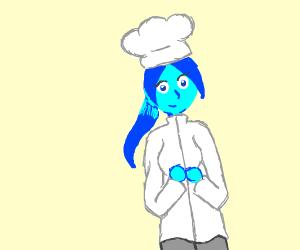 blue chef lady