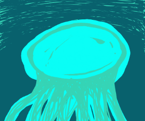 A big blue a teal jellyfish in dark waters