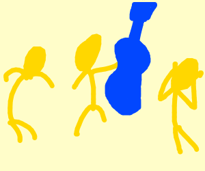 yellow people with a blue guitar