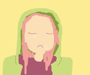 crying girl (long hair green hoodie)