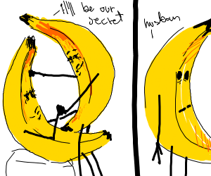 A banana cheating on a banana with a hotter b