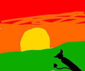 satan looking at sunrise