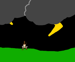 cowboy in a thunderstorm