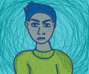 Angry man in green sweater
