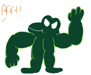 Muscular frog with arms and legs but no torso